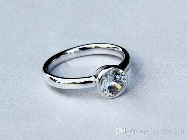 1Ct Ekonomik Takı T Marka Kalite Kadınlar için Yuvarlak Sentetik Elmas Yüzük Nişan Yüzüğü 925 Ayar Gümüş Yüzük Satış
