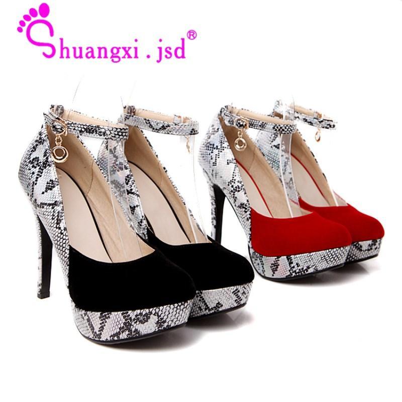 641076623 Compre Venda Por Atacado Mulheres Sapatos De Salto Alto Moda Vermelho Super  Alto 12cm Designer De Luxo 2018 Sapatos De Casamento De Lantejoulas Plus  Size ...
