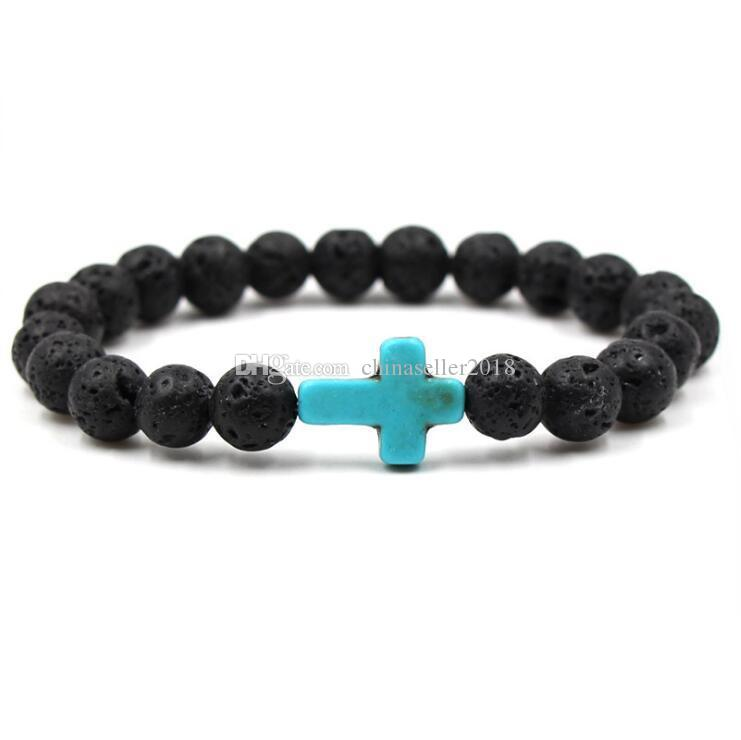 HOT Natural Cross Black Lava Stone Beads Elastic Bracelet Essential Oil Diffuser Bracelet Volcanic Rock Beaded Hand Strings Jewelry