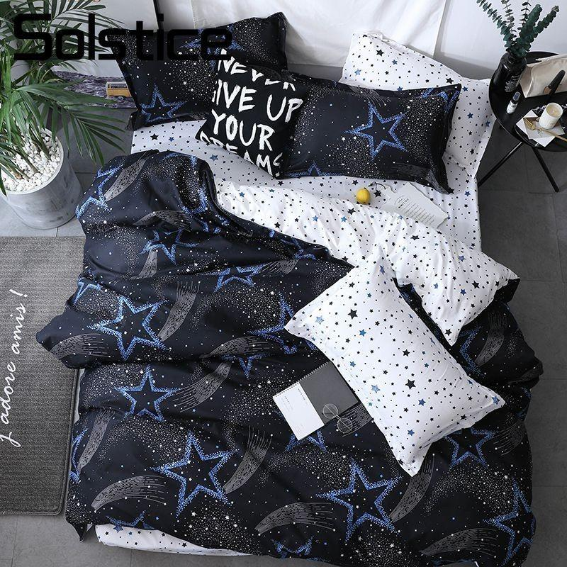 Solstice Home Textile Bedding Sets Stars Black/White Duvet Cover Pillowcase Flat Sheet Boy Teen Adult Girls Bed Linen Bedclothes