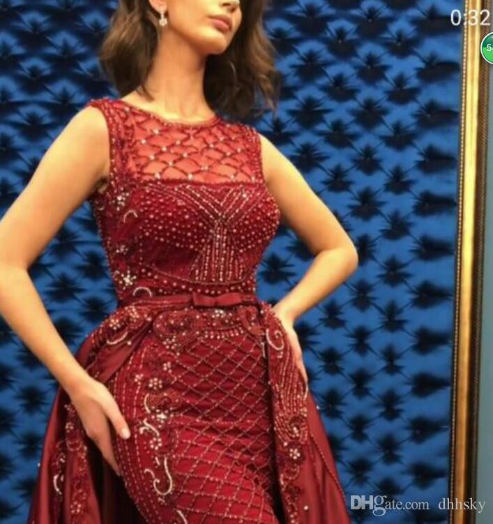 Abendkleid Yousef aljasmi Kim Kardashian O-Neck Perlenband Mermaid Langes Kleid Almoda gianninaazar ZuhLair murad Ziadnakad 0014