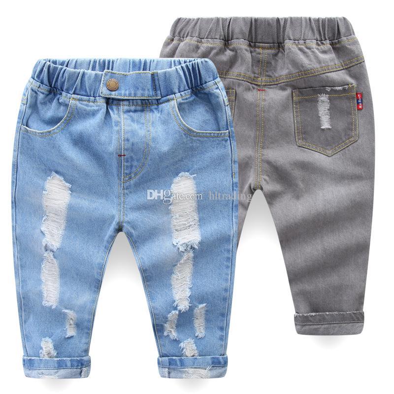 77243208d0 Compre INS Niños Pantalones De Mezclilla 2018 Niños De Moda Pantalones  Vaqueros Del Agujero Del Bebé Niños Niñas Pantalones Pantalones Casuales  Delgados es ...