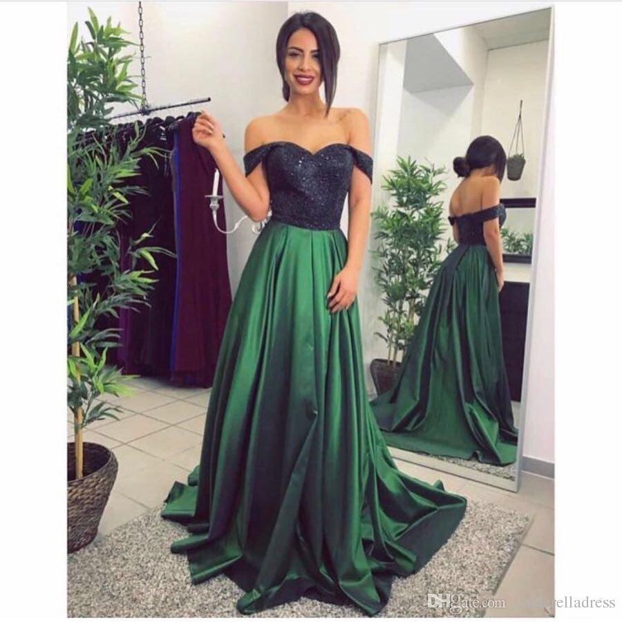 5e998dd7ebed Acquista 2018 Sexy Elegante Nero Lungo Top Prom Dresses Pizzo Verde  Disponibile Off Maniche A Spalla La Donna Abiti Da Sera Taglie Forti  Abbigliamento ...