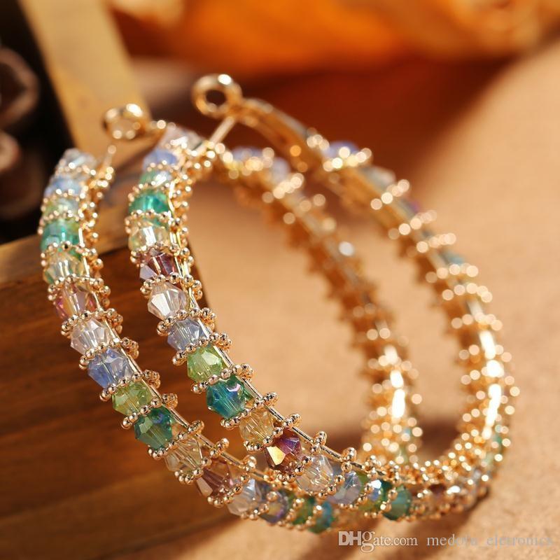 Nouveau mode à la mode des femmes Boucles d'oreilles en or jaune Bijoux plaqué CZ Big Hoops Boucles d'oreilles pour les filles Femmes Nice cadeau