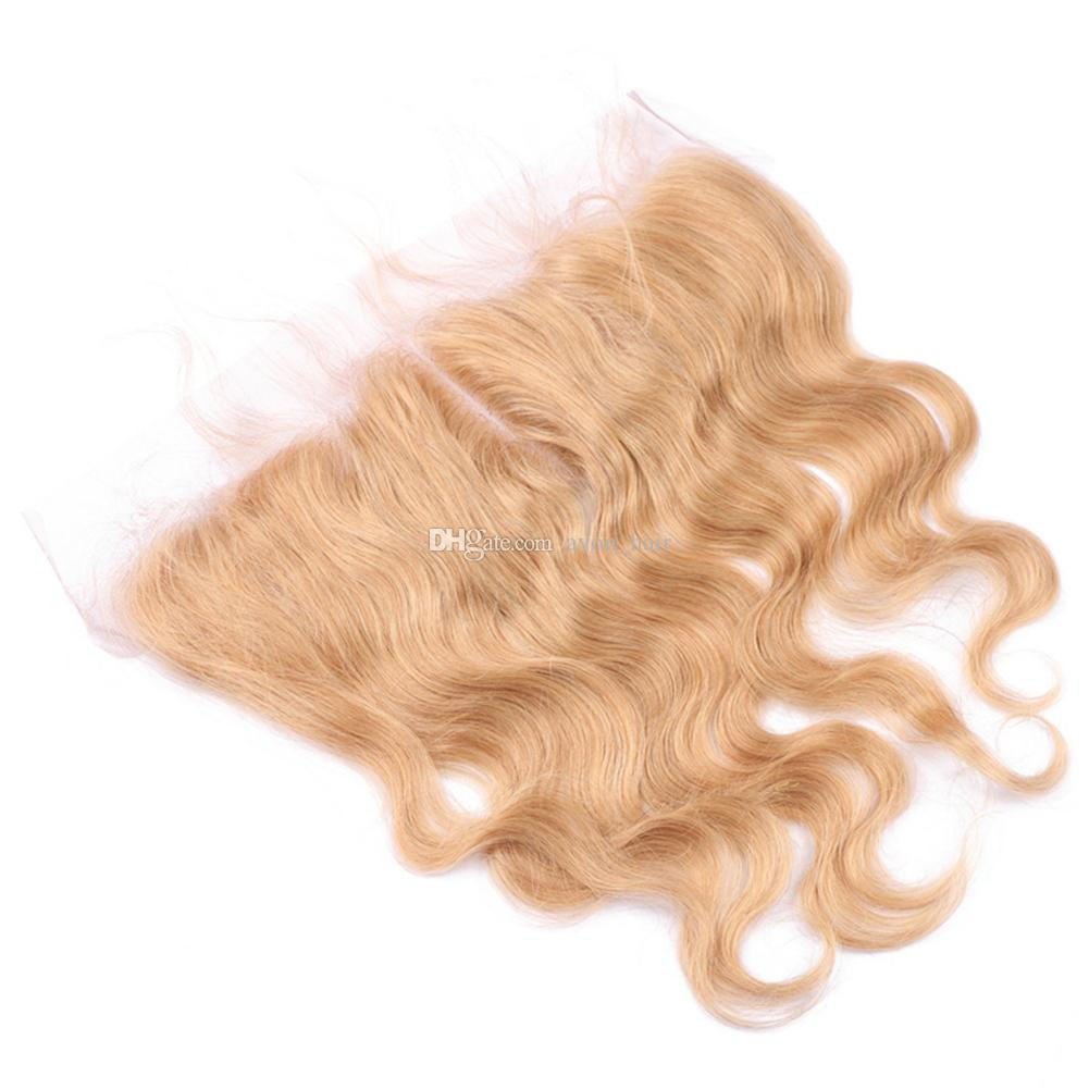 Honey Blonde Virgin Hair 3Bundles con encaje Cierre frontal Brasileño # 27 Blonde Body Wave El cabello humano teje con 13 * 4 Frontal