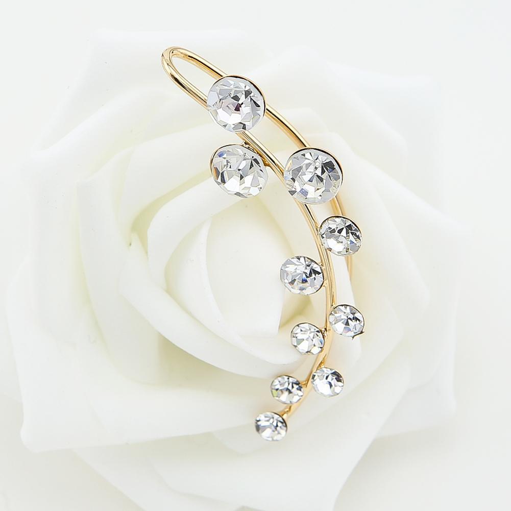 TrinketSea Golden Cubic Zirconia Orecchini con polsini senza piercing Crawler Donne Cut Glass Ear Cuff gioielli di moda in cristallo