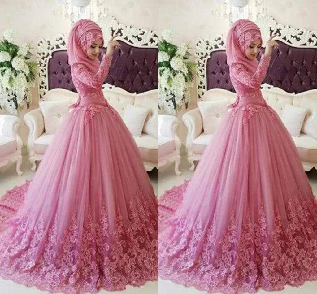 2018 Elegante Spitze Quinceanera Kleider Applique Ballkleid Arabisch Muslim Langarm Stehkragen Schärpen Formale Abendkleider Prom Kleider