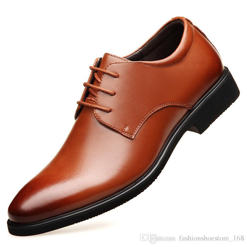 b81b1f0b9 Compre Big Size 47 Designer De Couro Genuíno Dos Homens Se Vestem Sapatos  Casuais Escritório De Negócios Sapatos Formais Respirável Rendas Até Dedo  Apontado ...
