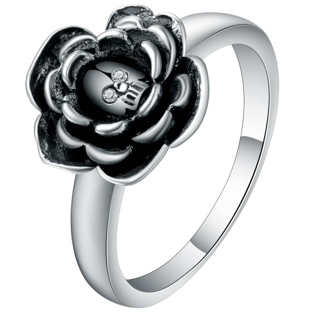 Beautiful Engagement Skull Flower Ring Women/'s Rings Fashion Goth Punk Jewelry