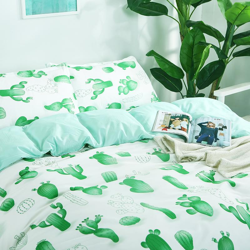 Natural Style Green Cactus Printed Bedding Sets Bedclothes Cotton Duvet  Cover Linens Pillowcases Bed Sheets Full Queen King Size Silk Duvet Cover  King Sheet ...