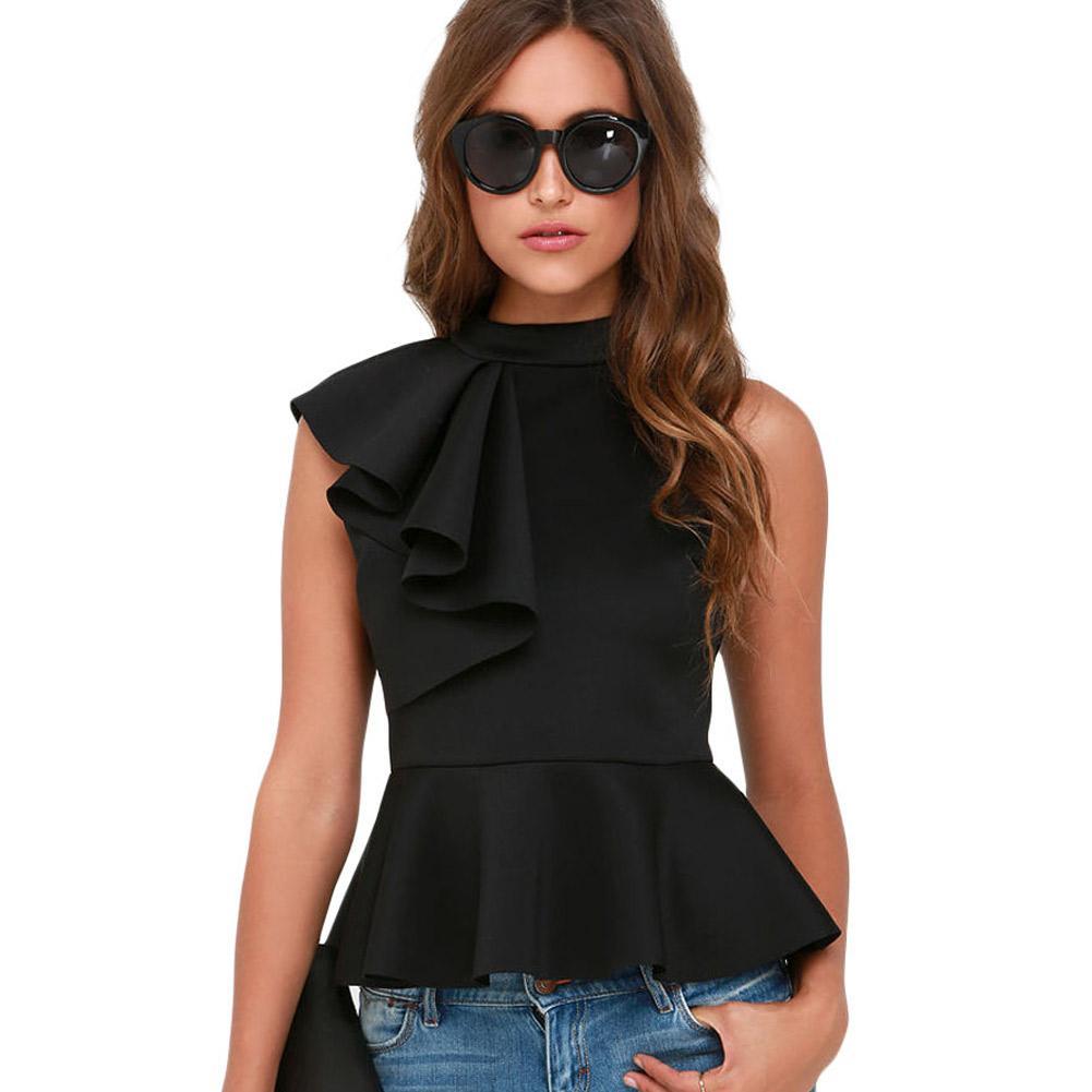 ff9e5735a25 2019 Summer 2018 Sleeveless Peplum Top For Women Asymmetric Ruffle Side  Tank Top Designer Clubwear Lc25845 Cropped Feminino From Lj 2014