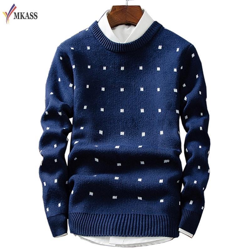 hot sale online 1b191 ec898 Herren Pullover Wolle Pullover Herren Marke Kleidung Casual Oansatz  Pullover Männer Dot Muster Langarm Baumwollhemd Männlich M-2XL D1892901