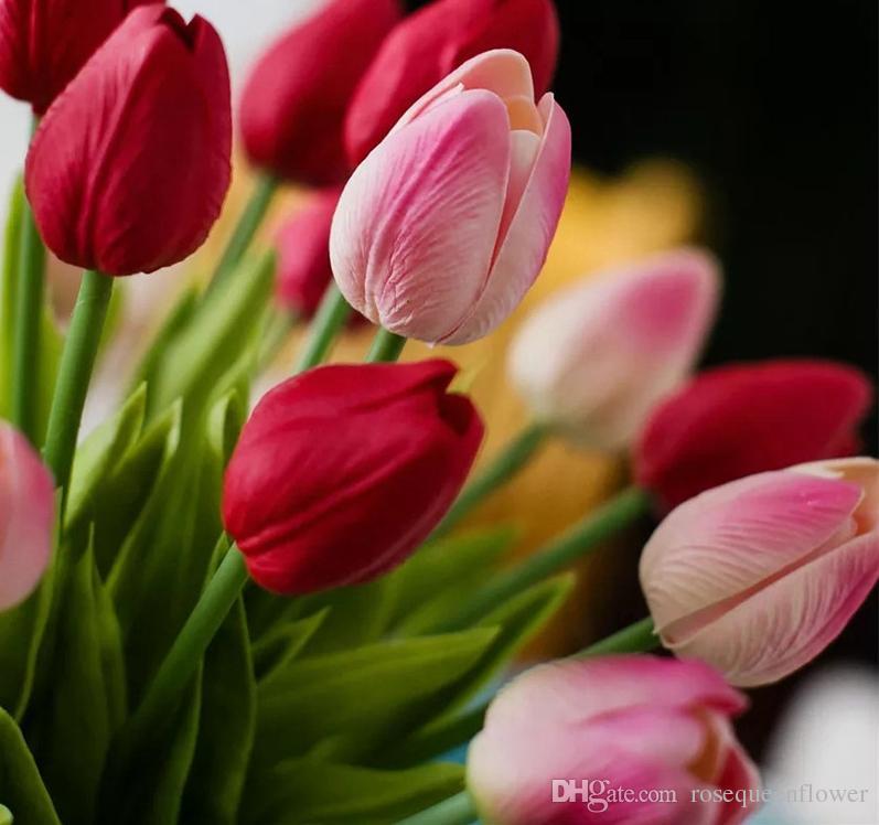 724f219fb529 Compre Tulipanes Artificiales Flor Para La Fiesta De Primavera Decoración  De La Boda Flores Flores Falsas PU Baratos Artificiales Tulipán Rosa Blanco  A ...