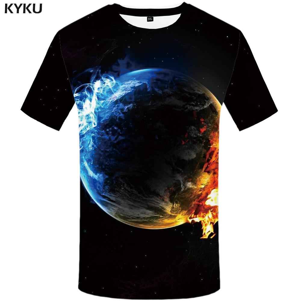 KYKU Galaxy T Shirt Men Earth Tshirt Anime Clothes Fire Funny T Shirts Space 3d T-shirt Black Hip Hop Mens Clothing 2018 Summer