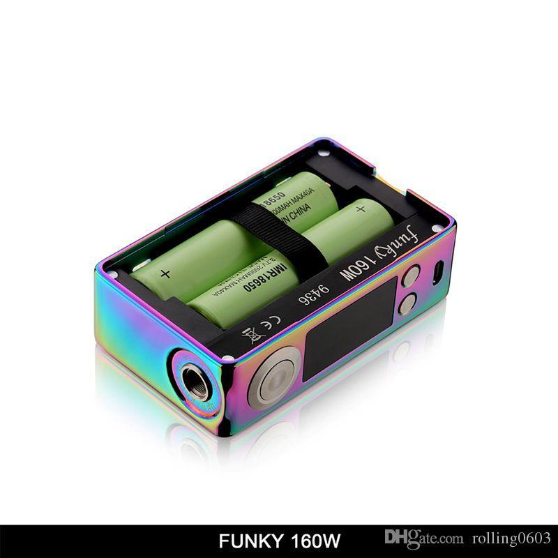 E-cigarette vaper Box Original Aleader Funky 160W Boîte Mod VW TC 18650 Batterie Résine Ecig Vape Mods Pour 510 Fil Atomizer Réservoirs