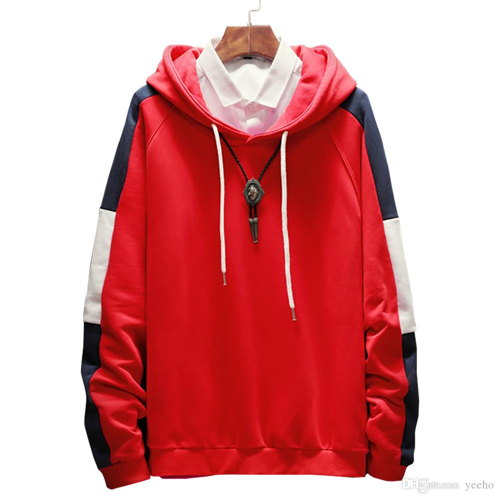 Plus Size 5XL Men's Sweatshirts 2018 Autumn New Fashion Patchwork Hooded Sweatshirts Casual Color Block Slim Fit Pullovers Men M3-054