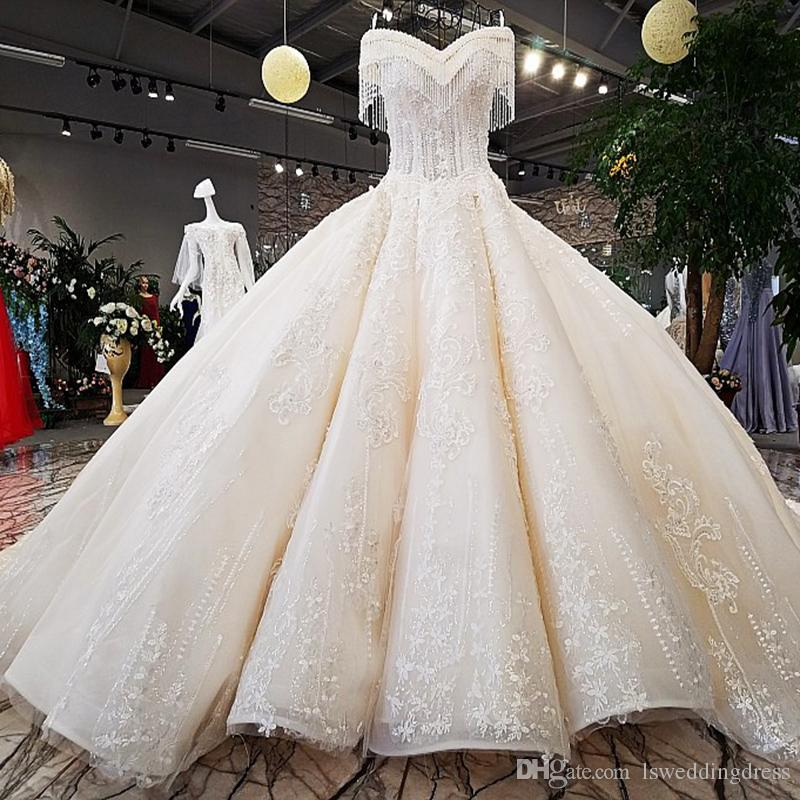 Hand Work Wedding Dresses From China Factory Ivory Off Shoulder Sweetheart Ball Gown Dress With Long Train Lace Up Back Beaded Wedding Dress