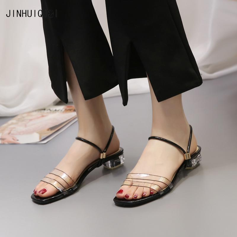 b723a9b4099 Summer sandals for women transparent Comfortable low heeled shoes fashion  Square toe silver slipper chunky clear heels