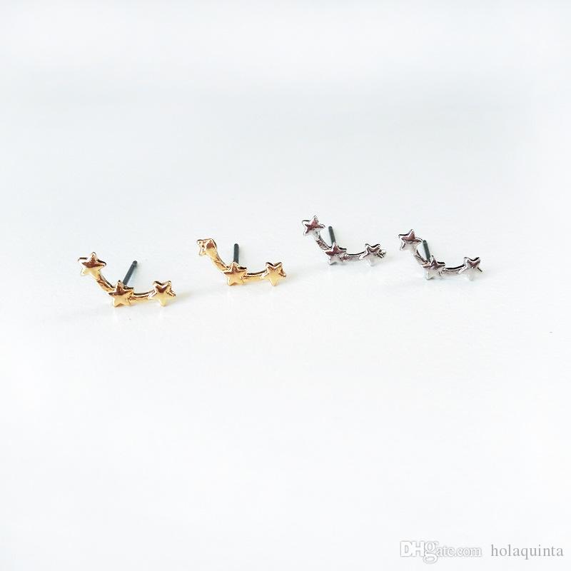 Moda 3 Yıldız Damızlık Küpe Toptan kadınlar moda kulak takı altın gümüş