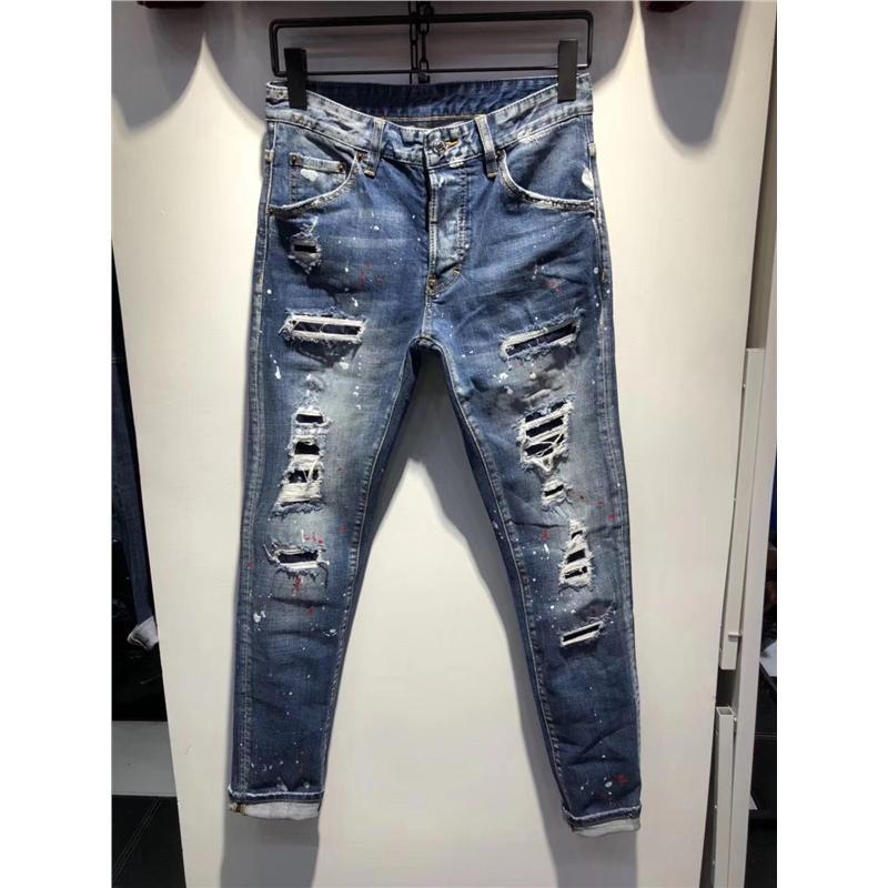 Acheter Hiver Chaud 2018 Masquer Trou Jeans Patchwork Jeans Déchiré Jeans  Déchirés Homme Patch Droit Slim Patch Mendiant Silm Pantalon Cowboys Jeans  De ...