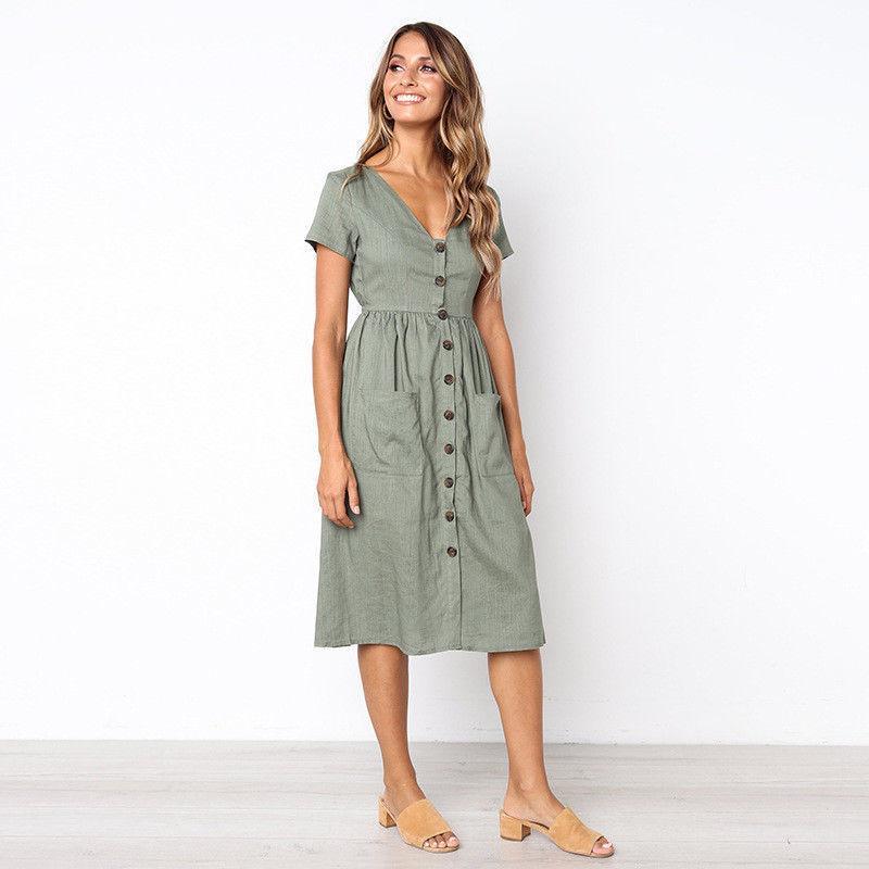 8982ed5112 Women Summer Boho Dress Casual Evening Party Button Midi Beach Dress  Sundress V Neck Short Sleeve Bohemian Beach Dress Summer Long Dresses Women  Summer ...