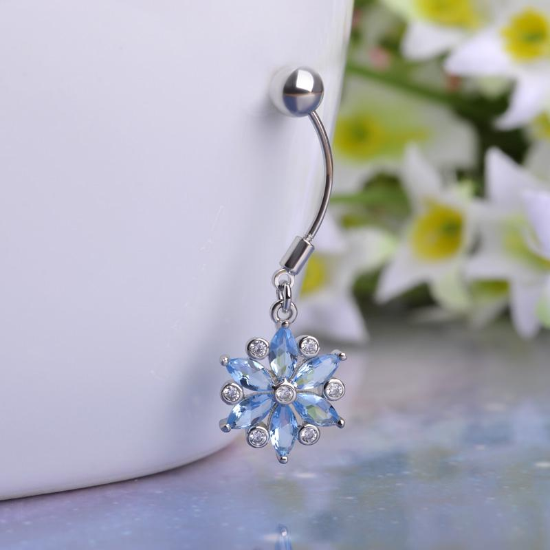 Blue Gold Real Zircon Flowers Sex Body Jewelry Piercings Navel Belly Button Rings Women Girls Bikini Beach Percing Bijoux