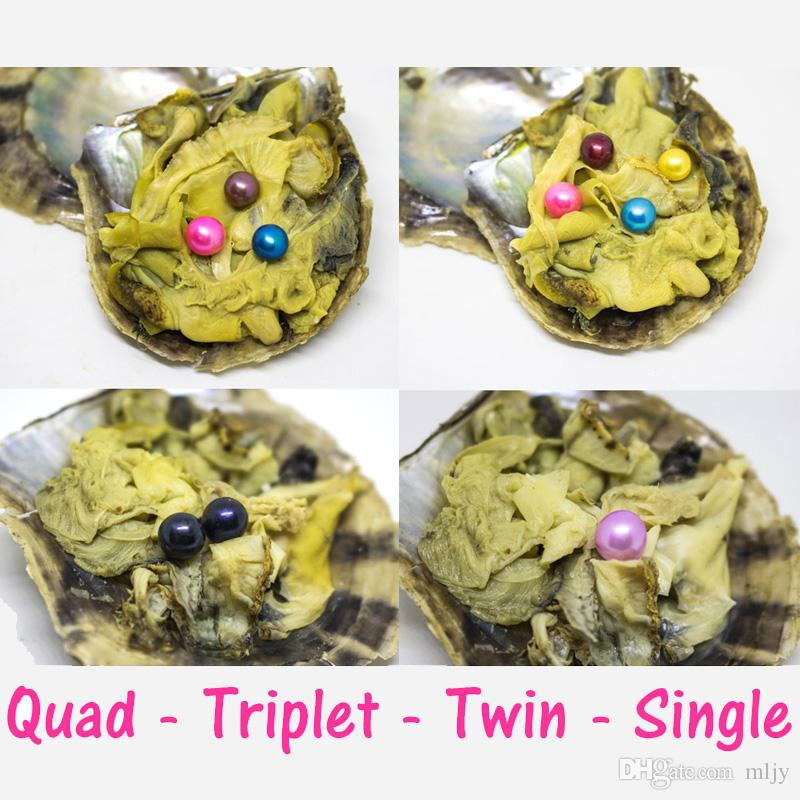6-8mm mix 28 renk yuvarlak Akoya Oyster Oyster tek, ikizler, üçüz ve dörtlü Pearls İstiridyeler bireysel Wrap