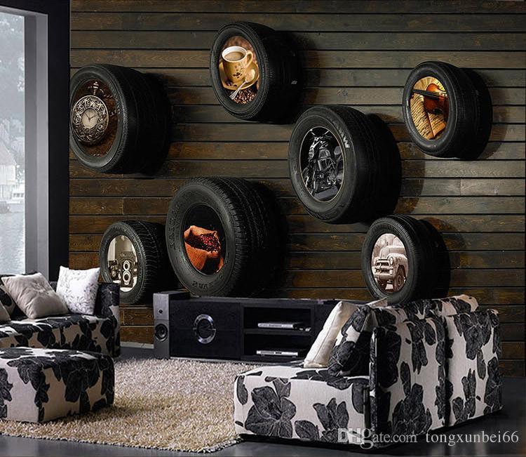 Vintage car tires KTV Internet bar theme wallpaper living room bedroom TV background wallpaper mural