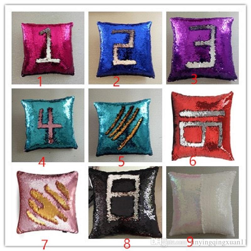 40 * 40 cm Hola Reversible Lentejuela Sirena Throw Pillow Cojín Cubierta Decoración Del Hogar Del Coche Sofá Decoración Decorativa Funda de Almohada