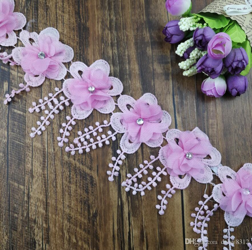 15Yard Rhinestone Beaded Flower Tassel Chiffion Lace Fabric Trim Ribbon For Apparel Sewing DIY Doll Cap Hair clip