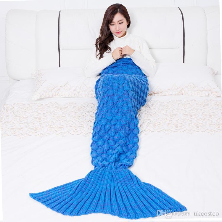 Adult Handmade Mermaid Tail Blanket Sofa Knit Blanket Cashmere Crochet Blanket Throw Bed Wrap For Sleeping 180x90CM D428L