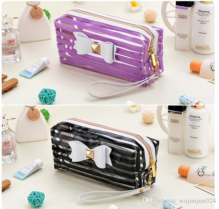 Lucky Floral Print Transparent Waterproof Bow Makeup Bag Stripe PVC Cosmetic Bag Storage Bag Toiletry Bathing Pouch sac