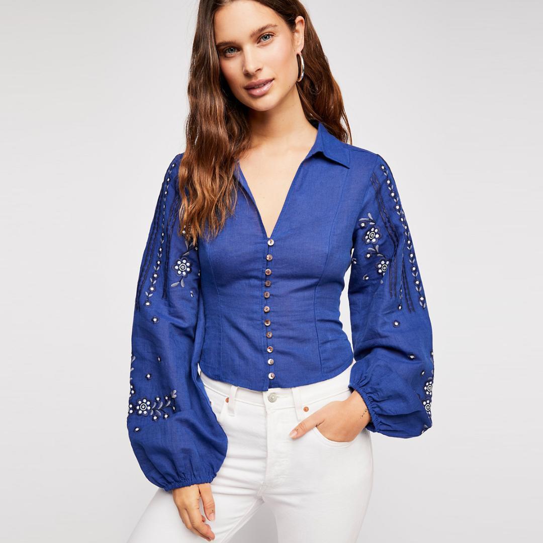 9d94cd000e8b1 Jastie Blue Cotton-linen blend Blouse Boho Floral Embroidery Top V-Neck  Elastic Back Long Sleeve Autumn Shirts Blouses Blusas