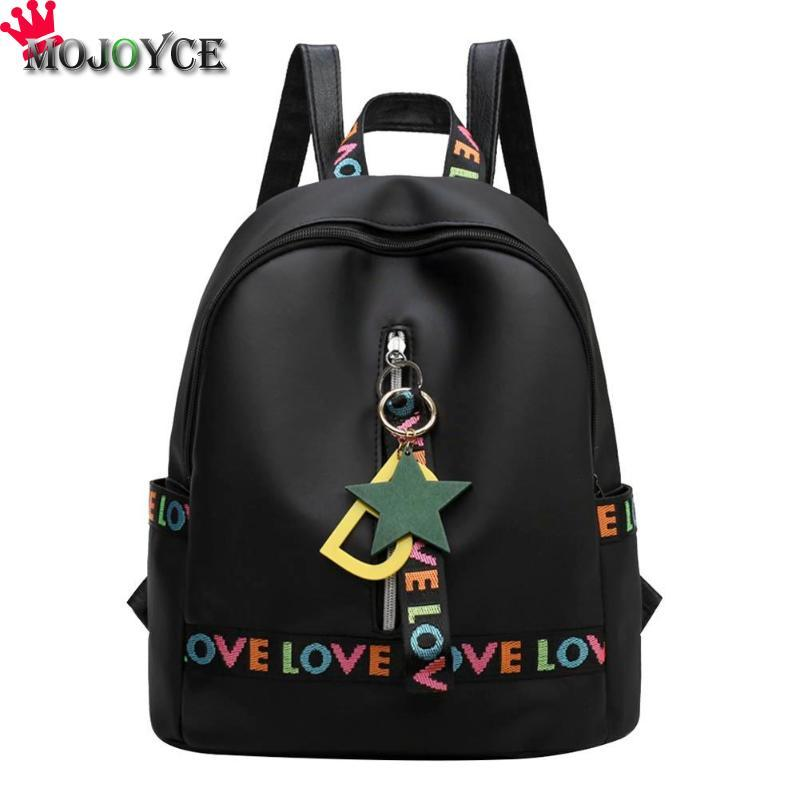 Simple Waterproof Nylon Women Generous Decent Backpack Letters Embroidery  Shoulder Zipper Backpack With Star Pendant Decor Backpacks Bags From Leafie d7d28a469f88e