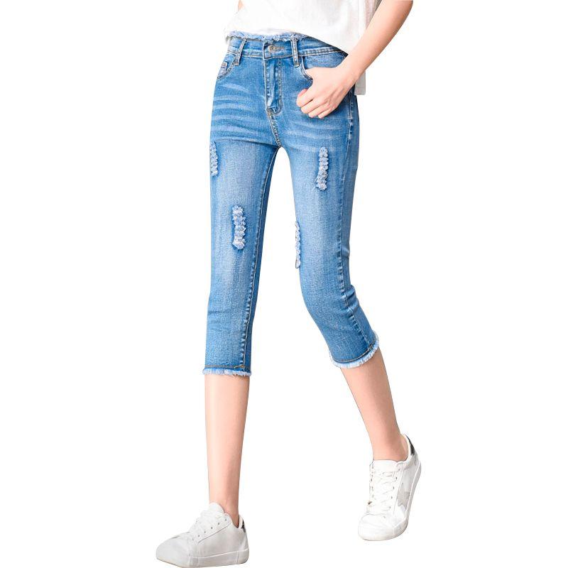 6ab65e8c33 Compre Pantalones Vaqueros Flacos Del Verano Capris Mujeres Estiramiento  Hasta La Rodilla Pantalones De Mezclilla Cintura Alta Jeans Mujer Jean  Corto ...