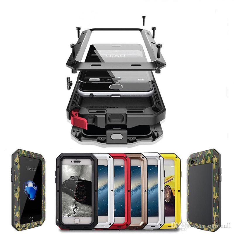new product 9ebe9 07046 Luxury Metal Armor Outdoor Shockproof Aluminum Case For iPhone X 7 6 6s  Plus 5 5s SE Cover Waterproof Phone Cases Screen Film