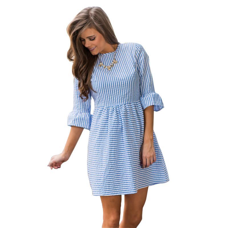 1514596459f84 Beach Casual Striped Dress Women 2017 Summer Style Ruffles Half Puff  Sundress Mini Shirt Dress Sexy Kawaii Ladies Party Dresses