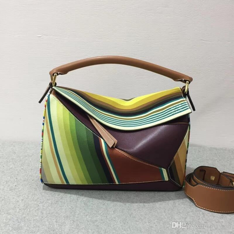 ca22c2a50c Fashion 2018 New Multicolour Genuine Leather Handbag High Quality 5A ...