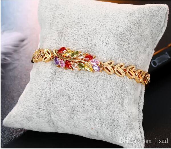 Feather Style Rose Gold Plated Zircon Colorful and White Diamond Colors Link Chain,Non-ellergic Jewelry for Bracelets Chain