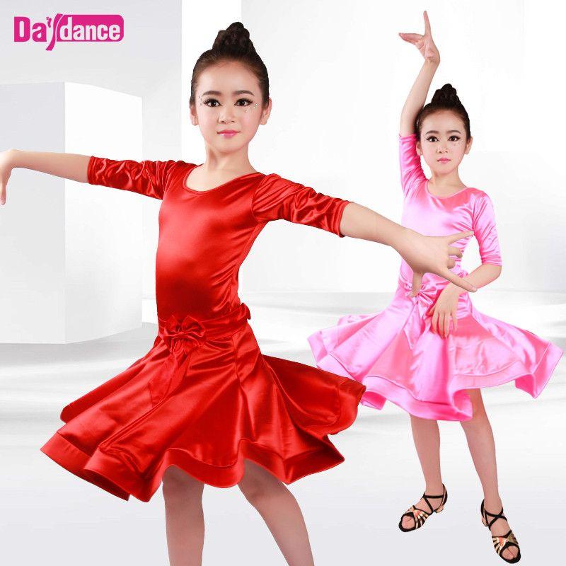 ee414333d9f 2019 New Girls Latin Dance Dresses Children Ballroom Dance Costumes Rumba  Samba Shiny Satin Performance Dancewear From Redbud06, $48.85 | DHgate.Com