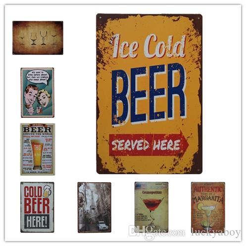 Wine Beer Cocktail Vintage Retro Metal Tin Sign Retro Metal Painting Poster  Bar Pub Signs Wall Art Sticker