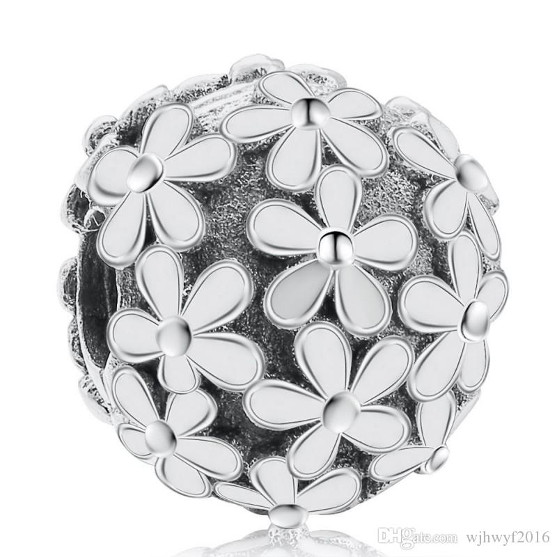 Daisy Flower Clip Charms Bead Authentic 925 Sterling-Silver-Jewelry Stopper Lock Beads DIY Brand Logo Bracelets Accessories HB412