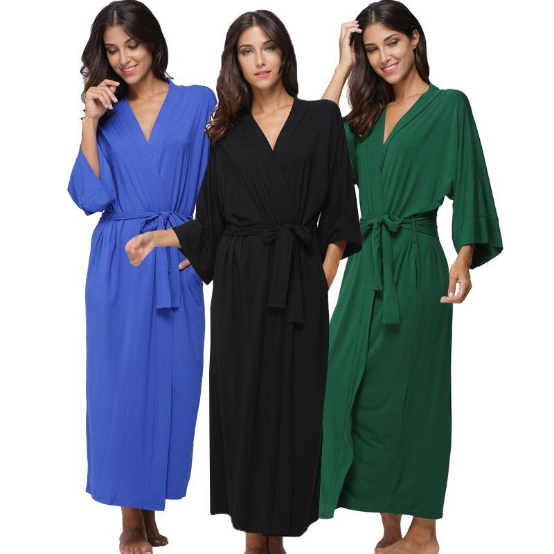 2019 Women S Cotton Long Kimono Robe Sexy Party Wedding Bride Bridesmaids  Robes Ladies Modal Black Loungewear Nightgown Bathrobe From Bichery a28f9f3bd