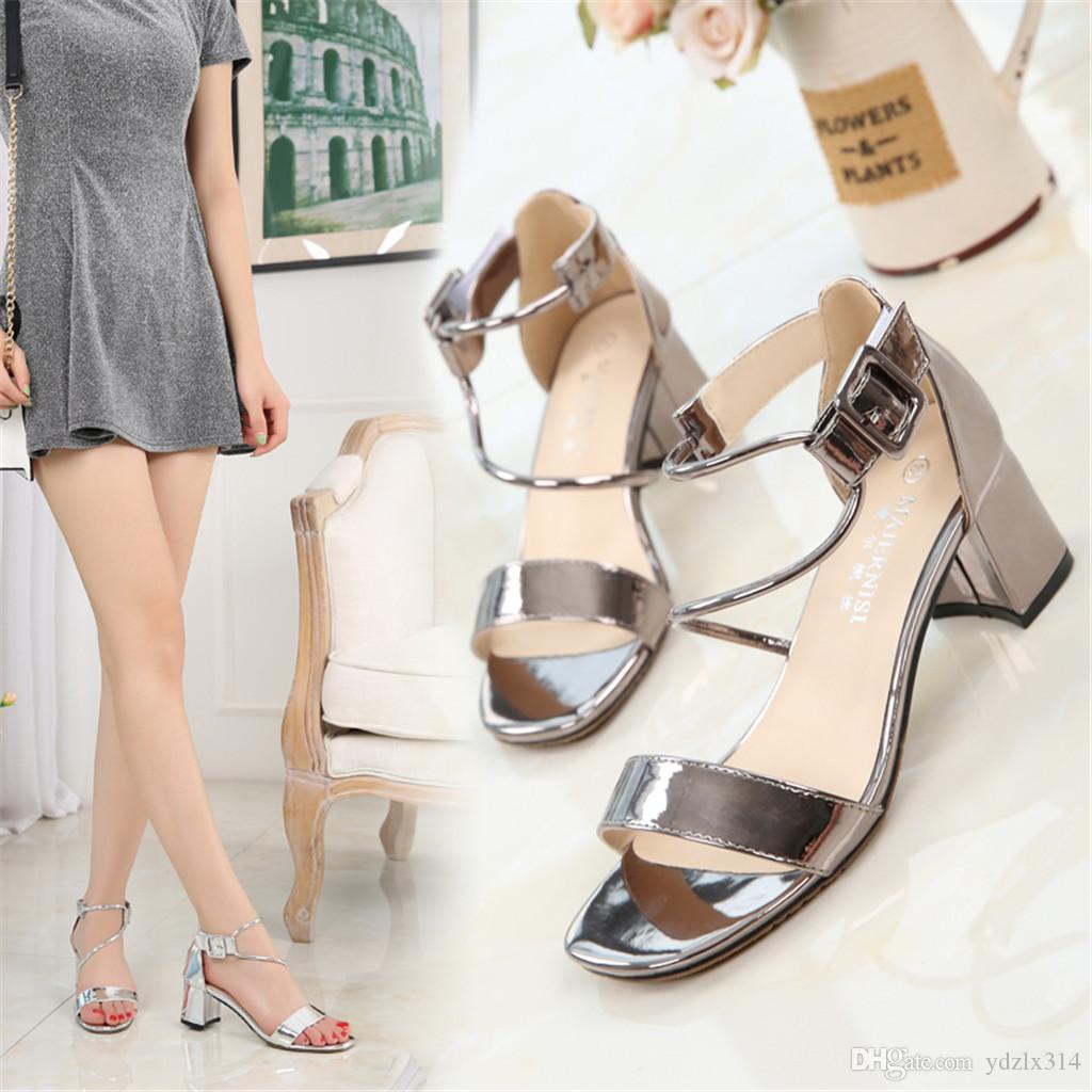 98373ab36f965b Fashion Coarse Thick High-heeled Sandals Sexy Trendy Comfortable ...