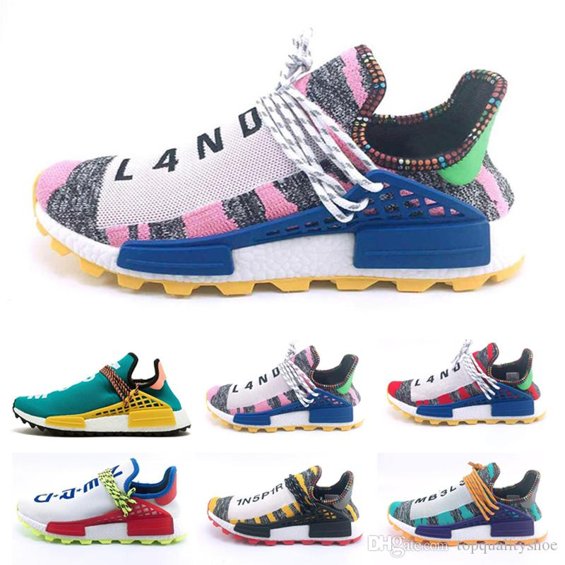 new products aa304 fd1e2 Human Race Running Shoes For Men Women Pharrell Williams HU Runner Pink  Black White Red Green Grey Blue Sport Designer Sneaker Size 36-47