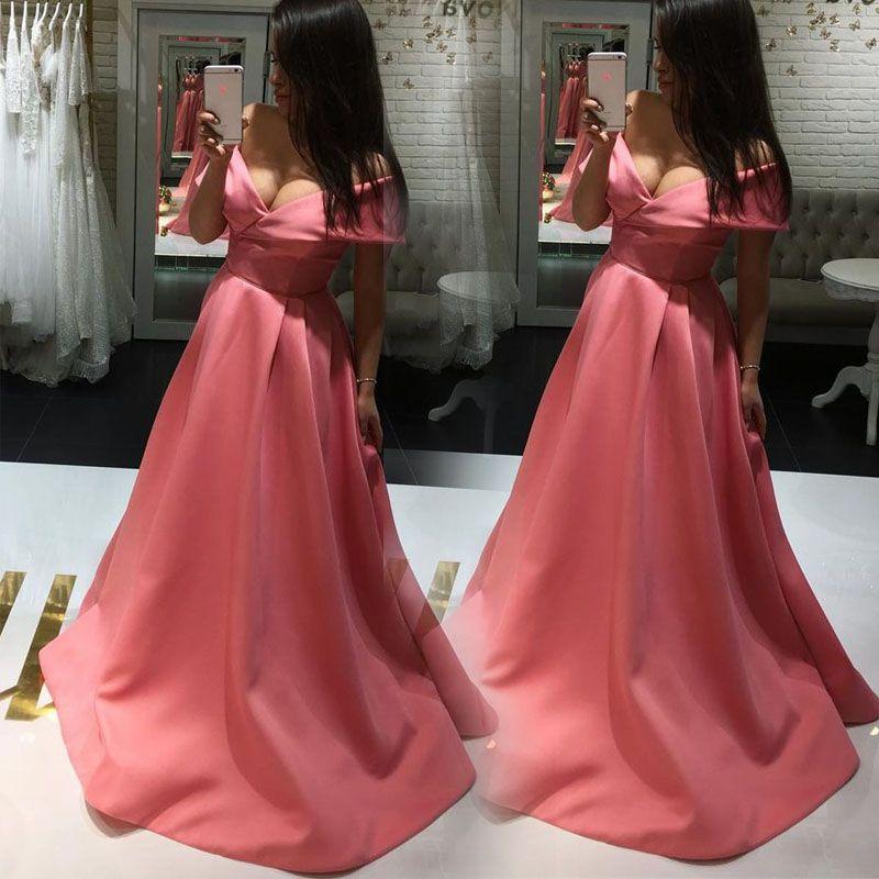 Off The Shoulder Simple Prom Dresses Peach Soft Satin Elegant ...