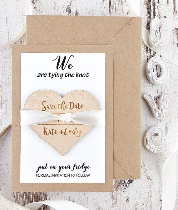 Personalize Names Date Engraved Wooden Card Save The Wedding Invitations Magnets Heart Gifts Cars Party Supplies Cheap