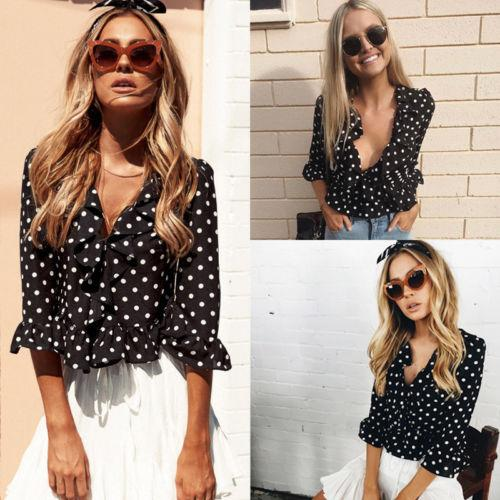 Мода Повседневная Женщины Дамы Шифон Горошек Блузки Рубашки Половина Рукава Короткая Одежда Белый Черный Топы
