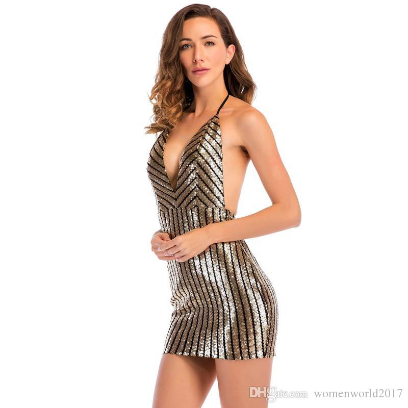 0bf5b58481569 Sexy Striped Mini Bodycon Dresses Women Ladies Summer Cocktail Dresses  V-Neck Backless Halter Sequins Dress Mini Club Dress