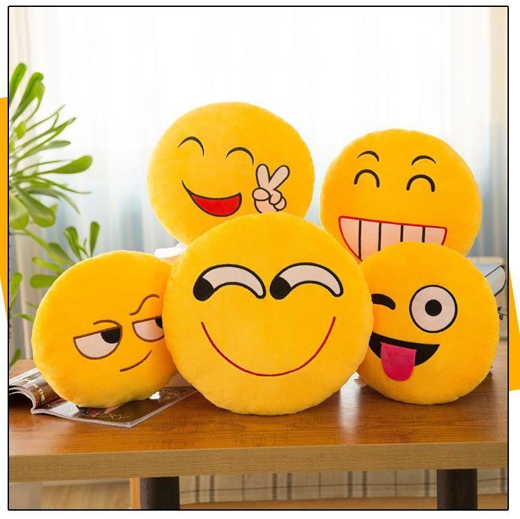 8-12cm Cute Emoji Smiley Plush Pendants Cartoon Facial QQ Expression  Cushion Pillows Embroidered Yellow Round Emoji Stuffed Plush Toy Dolls